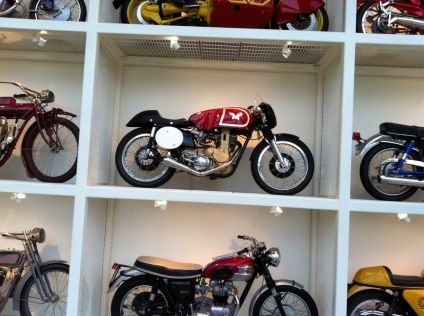 vintage and modern motorcycles and racecars